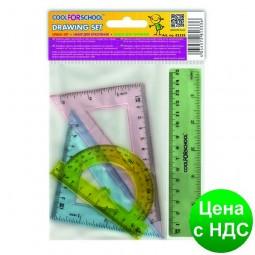 Набор цветных линеек (лин.15см, тр.7см, тр.9см, транс.) CF81333