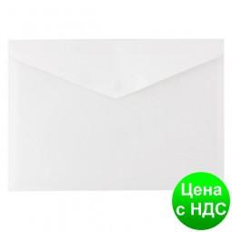 """Папка-конверт непрозрачная А4 на кнопке Economix, 180 мкм, фактура """"глянець"""", белая E31301-14"""