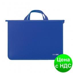 Портфель пластиковый А4 Economix на молнии, 2 отделения, синий  E31630-02
