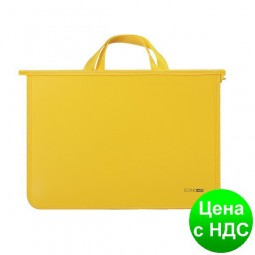 Портфель пластиковый А4 Economix на молнии, 2 отделения, желтый E31630-05