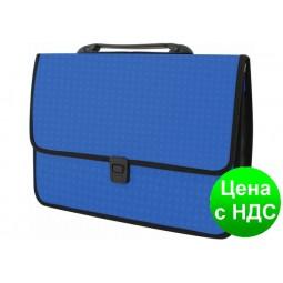 Портфель на застежке, фактура «Вишиванка», синий  E31641-02