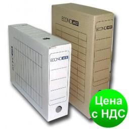Короб архивный картонный 100 мм Economix, белый E32704-14