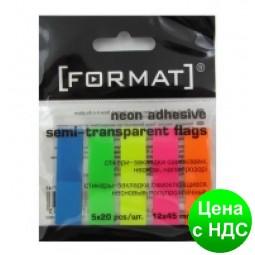 Закладки с клейким слоем 12х45 мм Format, 100 шт., 5 неоновых цветов F27945