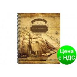 "Блокнот ""Locutus Est Terra. Парусник"", 140х172 мм, евроспираль, крафт, 100 листов, 70 г/м2, O20346-01"