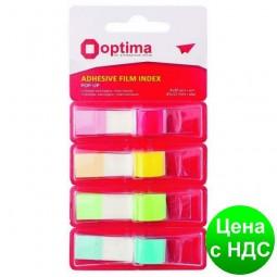 Закладки с клейким слоем POP-UP 12х45 мм Optima, 160 шт.,4 неоновых цвета O25534