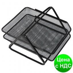 Лоток для бумаги горизонтальный двойной Optima, метал сетка,черный O36308-01
