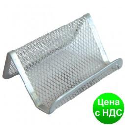 Подставка для визиток Optima, 105х90х50 мм, метал сетка, серебренная O36318-10