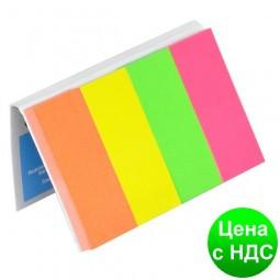 Закладки бумажные с клейким шаром, 4 цв. х50листов, 20х50мм, неон, ассорти 7576001PL