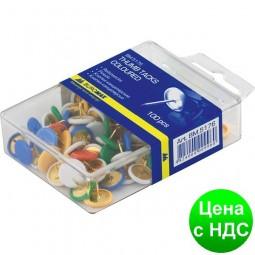 Кнопки цветные, 100 шт., пласт.покр., пласт.контейнер BM.5176