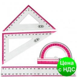 Комплект: Линейка 20см, 2 треугольника, транспортир, с розовой полоской ZB.5680-10