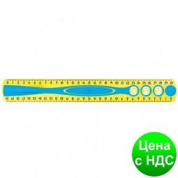 Линейка KIDY GRIP, 30см пластиковая, двухсторонняя шкала, с держателем блистер MP.278610
