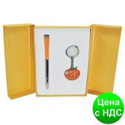 """Набор подарочный """"Apple"""": ручка шариковая + брелок, оранжевый LS.122024-11"""