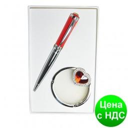"""Набор подарочный """"Crystal"""": ручка шариковая + крючек д/ сумки, красный LS.122028-05"""
