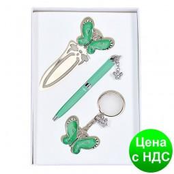 """Набор подарочный """"Fly"""": ручка шариковая + брелок + закладка для книг, зеленый LS.132001-04"""