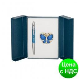 """Набор подарочный """"Papillon"""": ручка шариковая + крючек д/ сумки, синий LS.122010-02"""