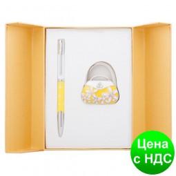 """Набор подарочный """"Sense"""": ручка шариковая + крючек д/ сумки, желтый LS.122031-08"""