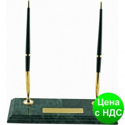 Подставка Настольная для 2-х шариковых ручек из зеленого мрамора BM.6650