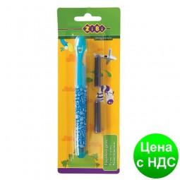 Ручка перьевая (открытое перо) + 2 Капсулы, голубой корпус, дизайн с рисунками, картонный блистер ZB.2242