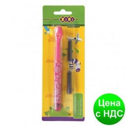Ручка перьевая (открытое перо) + 2 Капсулы, розовый корпус с рисунками, картонный блистер ZB.2243