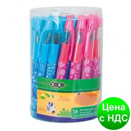 Ручка перьевая (открытое перо), цвет корпуса ассорти, дизайн с рисунками, туба 36 шт. ZB.2241