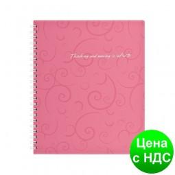 Тетрадь на пруж. Barocco В5, 80 листов, кл., розовый, пласт.обложка BM.2419-610