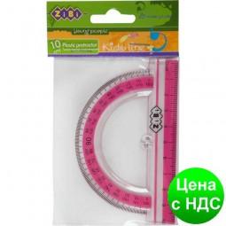 Транспортир 100мм, с розовой полоской, блистер ZB.5640-10