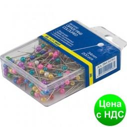 Шпильки цветные, 34 мм, 200 шт., пласт. контейнер BM.5250