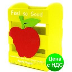 """Подставка для ручек пластиковая дерево """"С яблоком"""""""