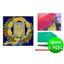 Мозаика алмазная 5D Герб Украины 36*36 см.