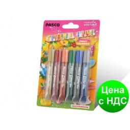 "Клей силиконовый с блестками на картоне ""Pasco"" Multi Colors (6 цветов,10 мл.)"