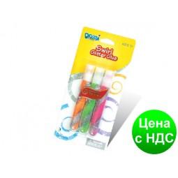"""Клей силиконовый с блестками на картоне """"Domi Frog"""" Swirl  двух-цветная спираль (3 цвета,10.5 мл.)"""