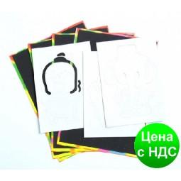 Гравюра неоновая с трафаретами CS-2018 (26*19.5 см.) 4 листа, 3 шаблона + деревянное перо
