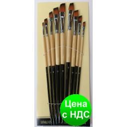 Набор кистей нейлон HX-9013 плоские скошенные (9 шт.)