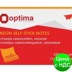Блок для заметок с клейким слоем 40х50 мм Optima, 100 листов, неон оранжевый O25511-06