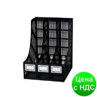 Лоток для бумаги тройной вертикальный сборный пластиковый черный A-Plus А-875 (618)