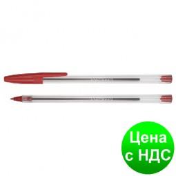 Ручка шариковая FORMAT F5 0,5 мм. Корпус прозрачный, пишет красным F17136-03