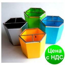 """Подставка для ручек пластиковая """"Шестигранник"""" 5 цветов"""