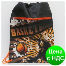 """Мешок для обуви со змейкой JO-16021 """"Баскетбол"""" 42*32.5см"""