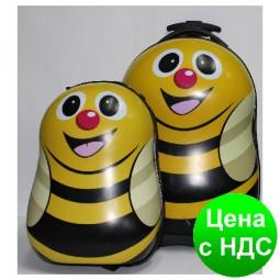 "Чемодан детский на 2 колёсах +рюкзак ""Пчёлка""17 №1929"