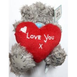 """Игрушка """"Мишка Тедди"""" с сердцем (плюшевый) 13 см."""
