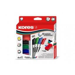Набір 4 маркери для дошок KORES 1-3 мм + губка