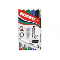 Набір маркерів для білих дошок KORES 1-3 мм, 4 шт. в блістері