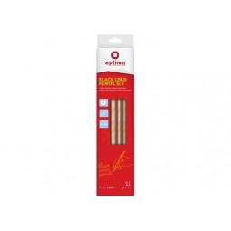 Набір чорнографітних олівців для креслення OPTIMA 12 шт. різної твердості (2Н-8В)