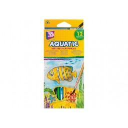 """Олівці кольорові акварельні """"Aquatic Extra Soft"""", 12 кольорів, трикутні, з пензлем"""