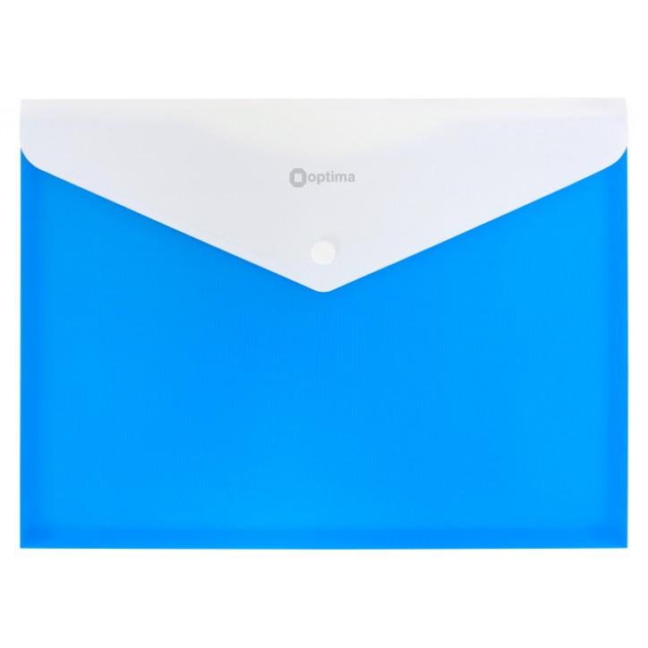 """Папка-конверт А4 непрозора на кнопці Optima, 180 мкм, фактура """"СМУГА"""", синя"""