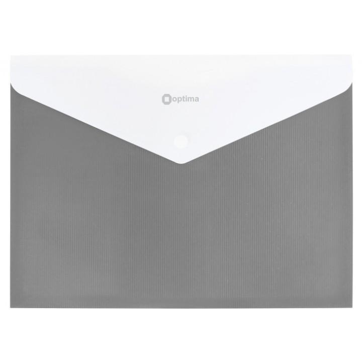 "Папка-конверт А4 непрозора на кнопці Optima, 180 мкм, фактура ""СМУГА"", сіра"
