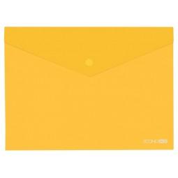 "Папка-конверт В5 прозора на кнопці Economix, 180 мкм, фактура ""глянець"", жовта"