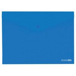 "Папка-конверт В5 прозора на кнопці Economix, 180 мкм, фактура ""глянець"", синя"