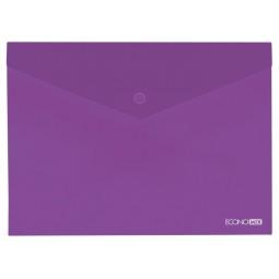 "Папка-конверт В5 прозора на кнопці Economix, 180 мкм, фактура ""глянець"", фіолетова"