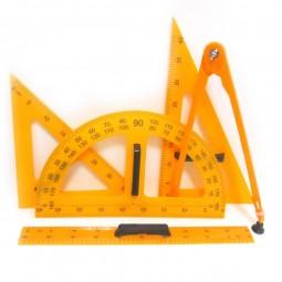 Набор линеек для школьной доски 5 предметов: лин. 50 см + трансп. + 2 угольн. + циркуль на присоске №0197